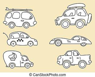 汽車, 矢量, 圖像, 被風格化, 為, 孩子