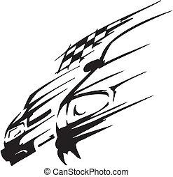 汽車, 矢量, -, 插圖, 比賽