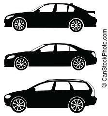 汽車, 矢量, 集合, 3