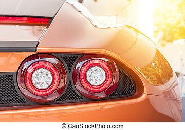 汽車, 背, 傍晚, 豪華, 橙, 運動