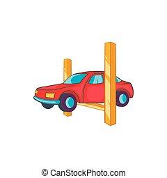 汽車, 舉起, 圖象, 在, 卡通, 風格