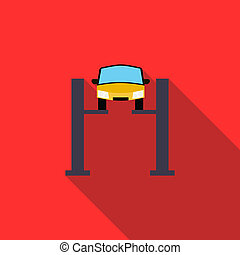 汽車, 舉起, 圖象, 在, 套間, 風格