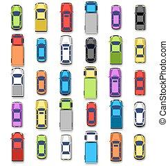 汽車, 被隔离, 彙整, 多种顏色, 陰影, 白色