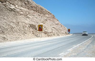汽車, 跑, 快, 上, a, 彎曲, 危險, 山道路