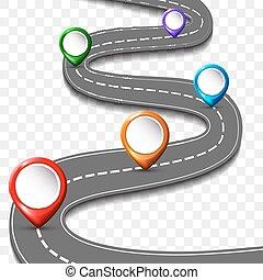 汽車, 路, 街道, 高速公路, 由于, 別針, 徵候。