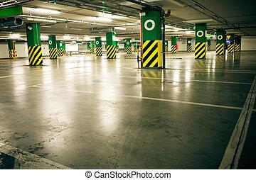 汽車, 車庫, 地鐵, 沒有, 停車處, 內部