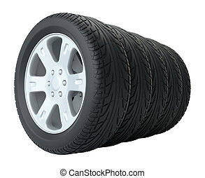 汽車, 輪胎, 在, 行, 被隔离
