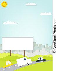 汽車, 開車, 上, 路, 近, the, 廣告欄