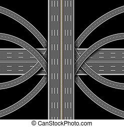 汽車, 頂部, highway., 插圖, denouement, 很多, 觀點。, roads.