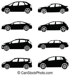 汽車, 黑色半面畫像, 集合