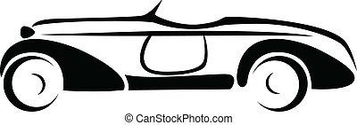 汽車, 黑色半面畫像, vector.