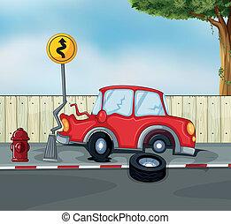 汽车事故, 消防龙头, 路旁