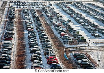 汽车, 停车, 在中, 冬季
