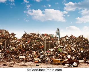 汽车, 再循环, 对于, the, dump.
