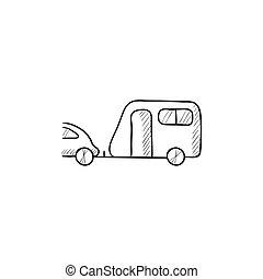 汽车, 勾画, icon., 旅行车