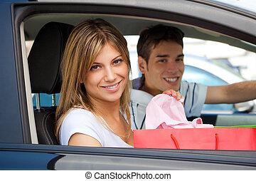 汽车, 在之后, 购物, 人们