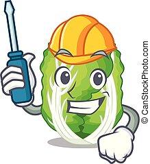 汽车, 大白菜, 蔬菜, 隔离, 在上, 卡通漫画