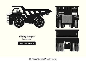 汽车。, 货物, 观点。, 采矿, 侧面影象, 往回, 图, 边, 工业, 背景。, 重, 汽车, 堆存处, 前面, 卡车, 3d, 白色, 柴油机, image., 蓝图
