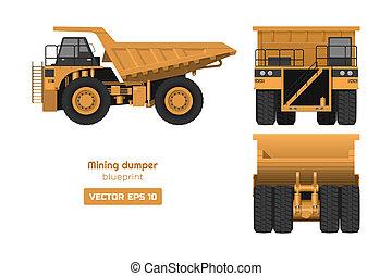 汽车。, 货物, 观点。, 采矿, 往回, 图, 边, 工业, 背景。, 重, 汽车, 堆存处, 前面, 卡车, 3d, 白色, 柴油机, image., 蓝图