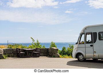 汽车, 露营者, 大海, 海岸, norway, 察看