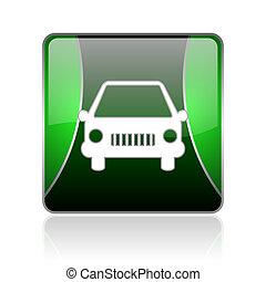 汽车, 黑色和, 绿色, 广场, 网, 有光泽, 图标