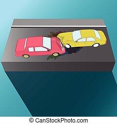 汽车, crash., accident.