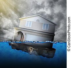 沈む, 家, 水
