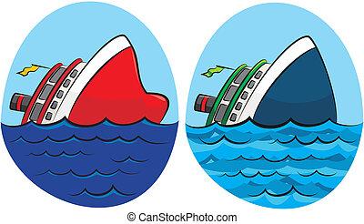 沈んでいる船