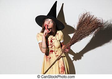 沈黙, 女, 提示, ハロウィーンの衣装, 恐ろしい, ジェスチャー