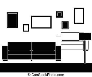 沙发, 现代, 放置, 家具