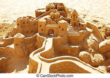 沙子城堡, 海灘