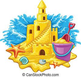 沙子城堡, 由于, 孩子, 玩具, 以及藍色, 波浪, 在背景上