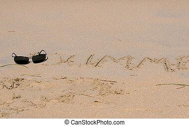 沙子, 寫, 以及, 太陽鏡