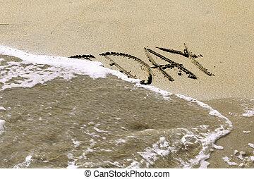 沙子, 寫, -, 假期