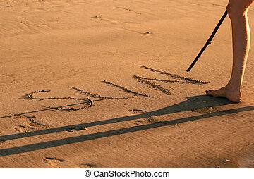 沙子, 寫, -, 太陽