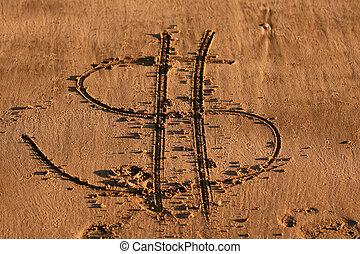 沙子, 寫, -, 美元