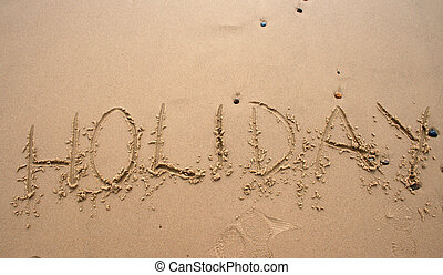 沙子, 寫, -, holoday
