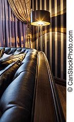 沙發, 以及, the, 地板燈