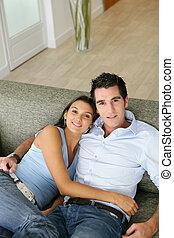 沙發, 夫婦, 放松, 他們