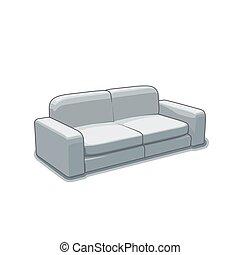 沙發, 或者, 長沙發, 矢量, 插圖