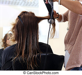 沙龍, 美麗, hairstyle., 美容師