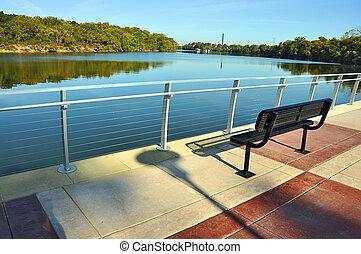 河, 公园, 忽略, 长凳