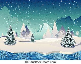 河, 冬天場景