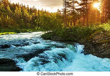 河, 在, 挪威