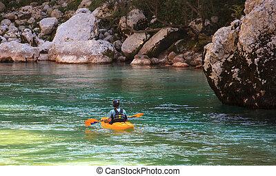 河, 斯洛文尼亚, kayaking, soca