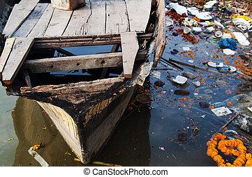 河, ganges, 污染