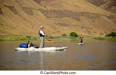 河, kayaks, 人, 釣魚