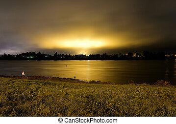 河, neva, night., 看法