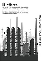 油和气体, 精煉厂, 被隔离, 在懷特上, 背景