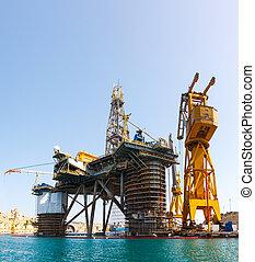油平台, 修理, 在, the, 港口